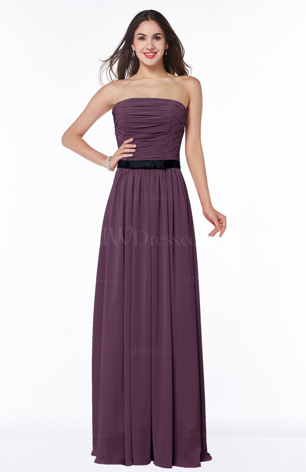 Plum Classic Strapless Half Backless Chiffon Pleated Plus Size Bridesmaid  Dresses