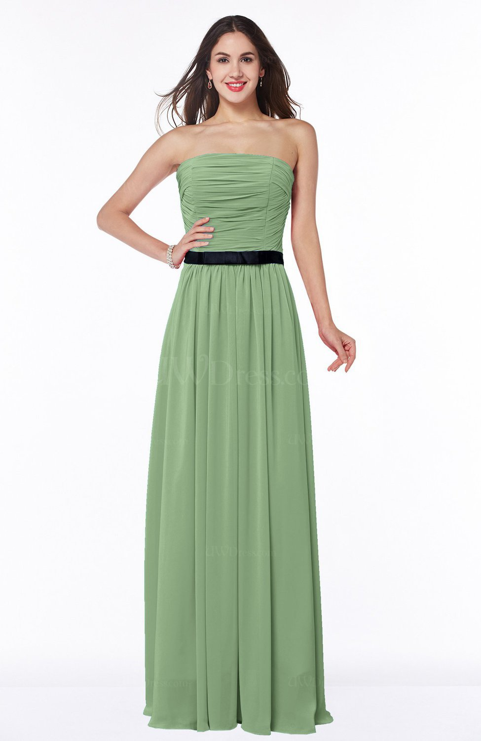 a10a084797dc15 Sage Green Classic Strapless Half Backless Chiffon Pleated Plus Size Bridesmaid  Dresses (Style D72409)