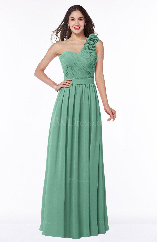 fe09f455d49d1 Beryl Green Traditional A-line Sleeveless Zipper Chiffon Flower Bridesmaid  Dresses (Style D96660)