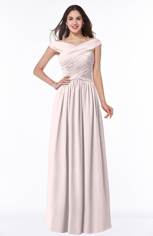 Light Pink Traditional A-line Sleeveless Chiffon Floor Length Plus ...