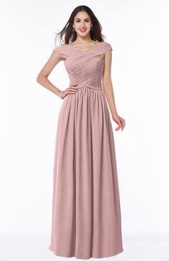 Silver Pink Traditional A-line Sleeveless Chiffon Floor Length Plus Size Bridesmaid  Dresses c7bfd6821