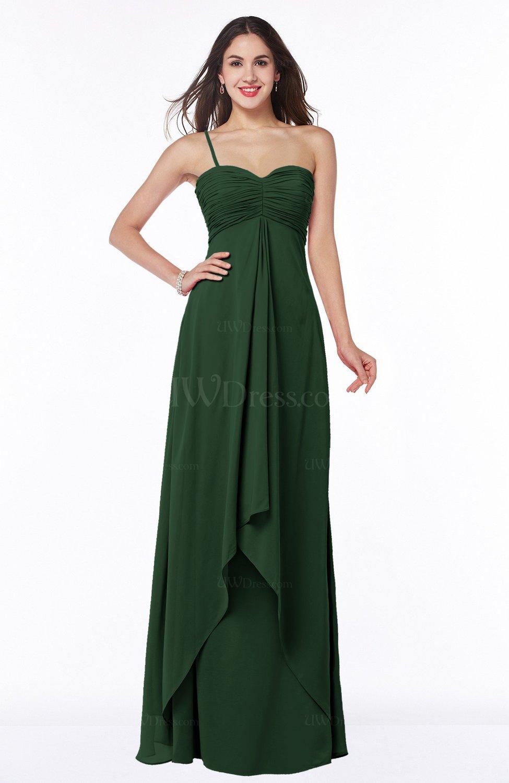 f3518b1b78f2 Hunter Green Mature Sleeveless Chiffon Floor Length Ruching Plus Size Bridesmaid  Dresses (Style D21677)