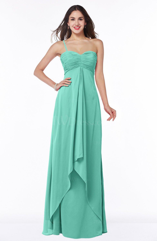 7e6507532d1 Mint Green Mature Sleeveless Chiffon Floor Length Ruching Plus Size Bridesmaid  Dresses (Style D21677)