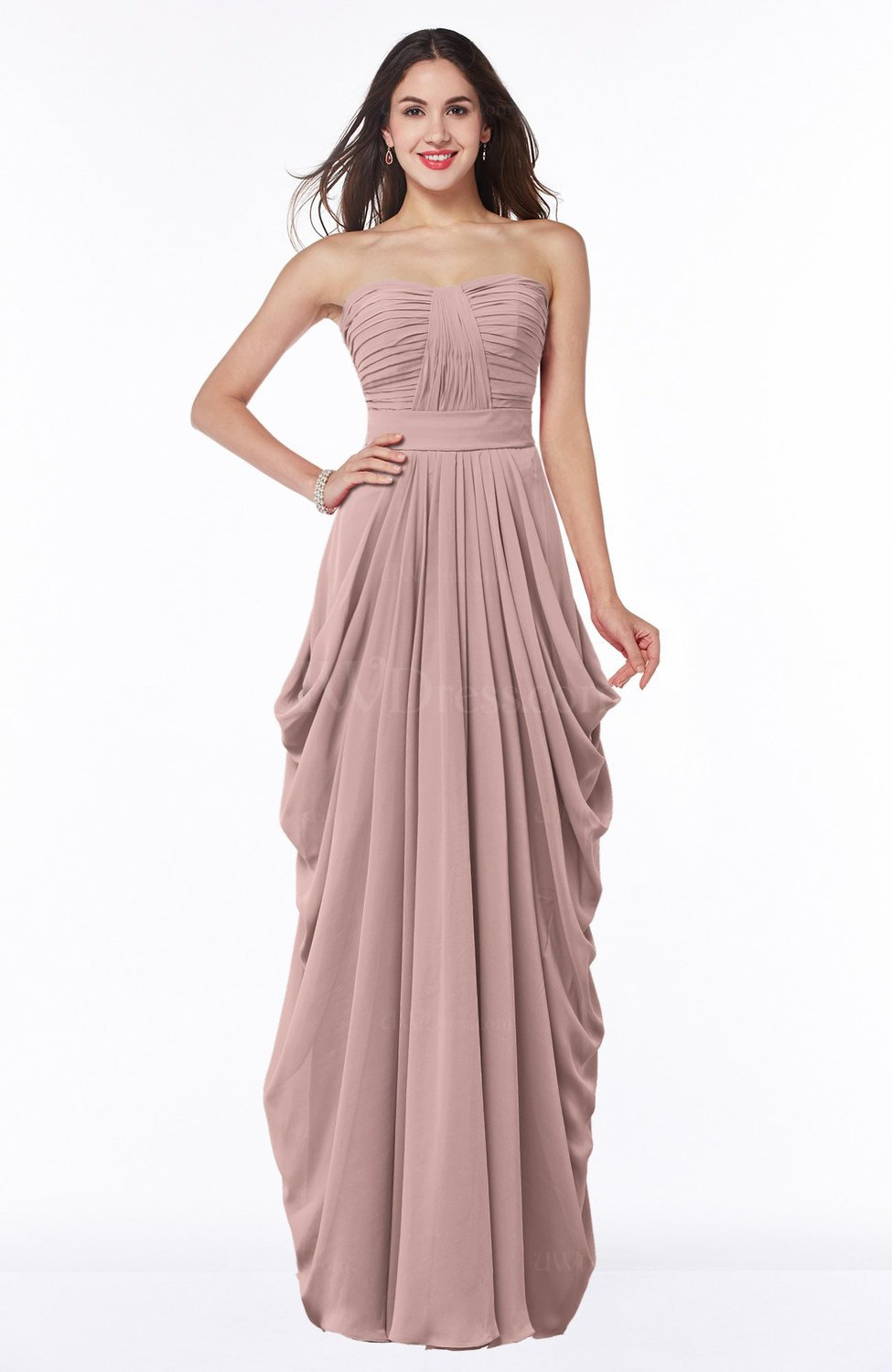 Nectar Pink Cinderella Half Backless Chiffon Floor Length Ruching ...