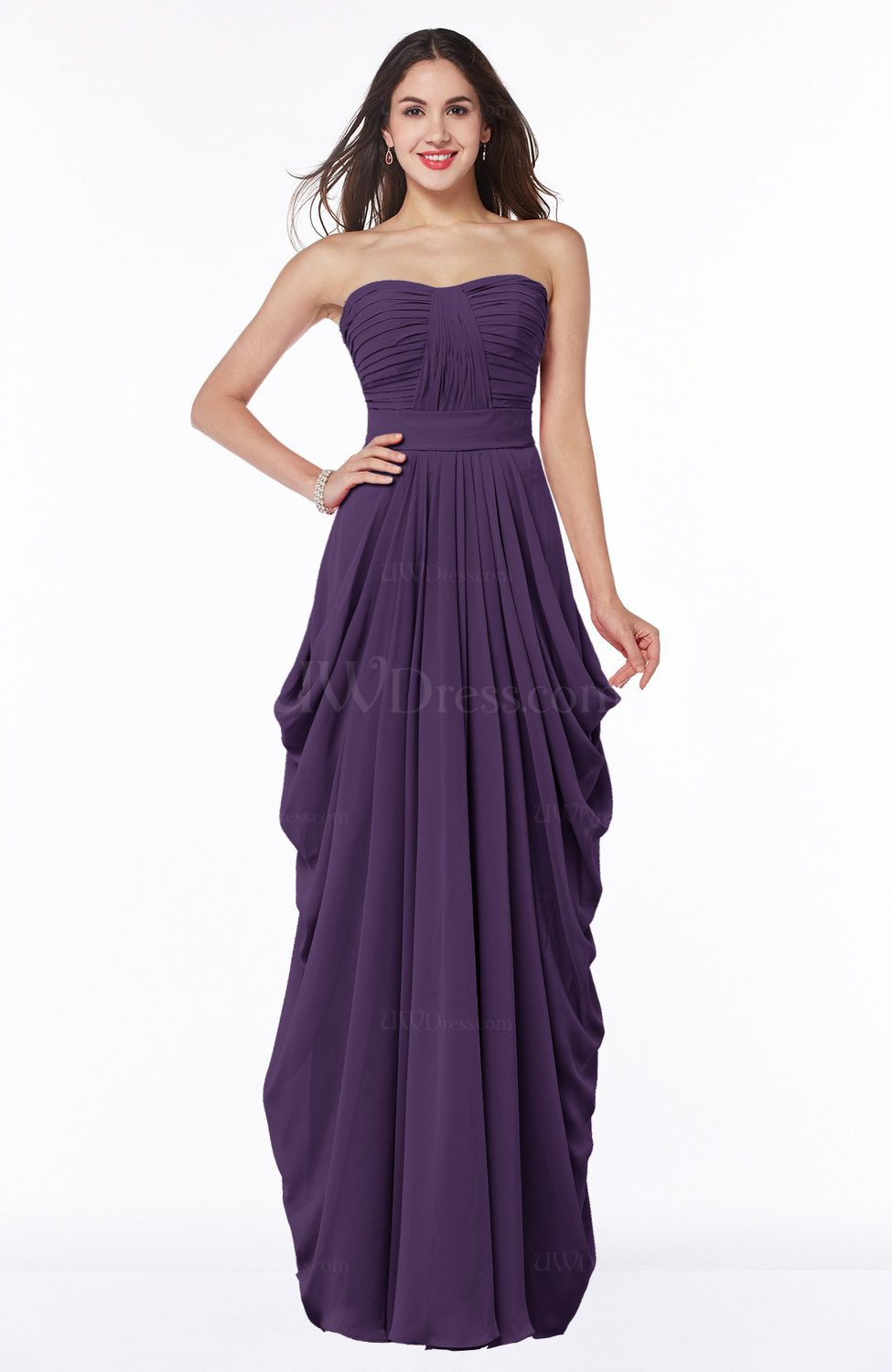 Violet Cinderella Half Backless Chiffon Floor Length Ruching Plus ...