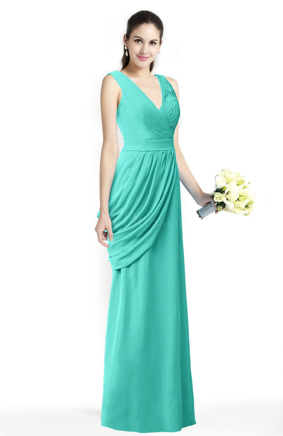 Blue Turquoise Mature A-line V-neck Chiffon Pleated Plus Size ...