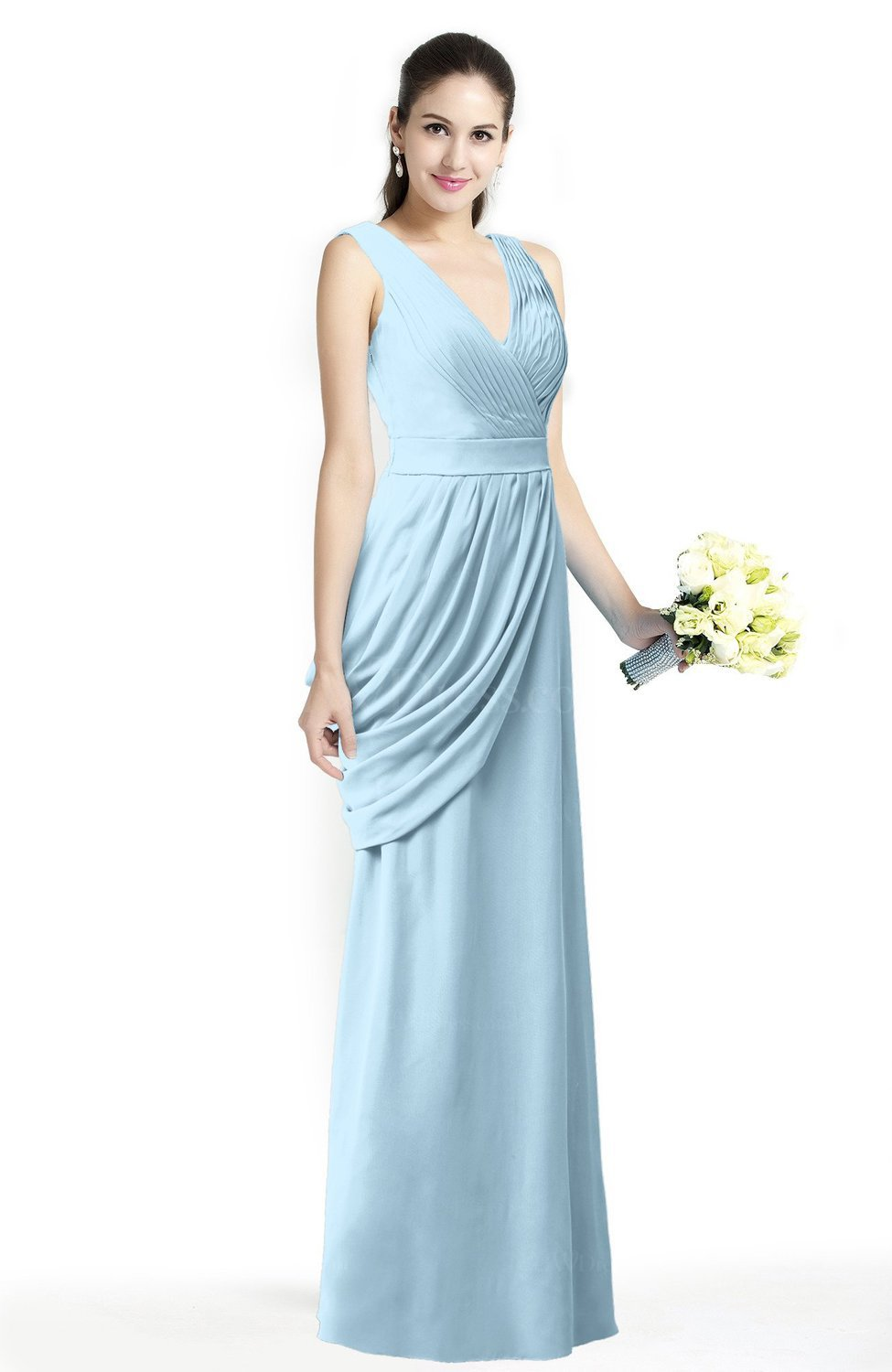 44279369d Ice Blue Mature A-line V-neck Chiffon Pleated Plus Size Bridesmaid Dresses  (Style D46216)