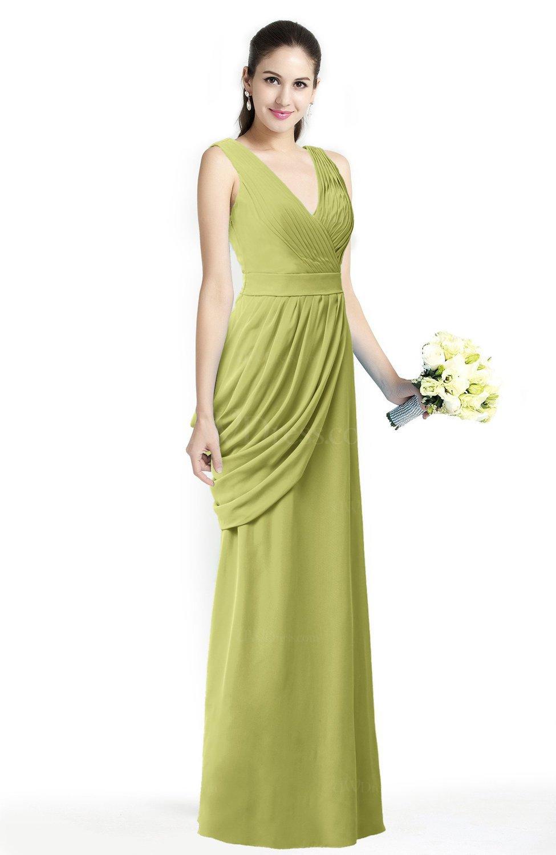 bb050d9e5abec Mature A-line V-neck Chiffon Pleated Plus Size Bridesmaid Dresses