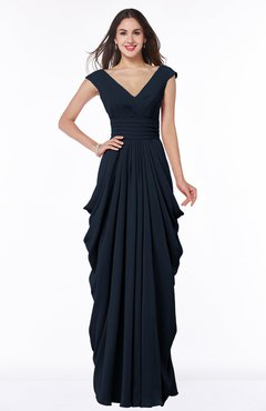 6f76c5994293 Navy Blue Mature Short Sleeve Chiffon Floor Length Pleated Plus Size Bridesmaid  Dresses