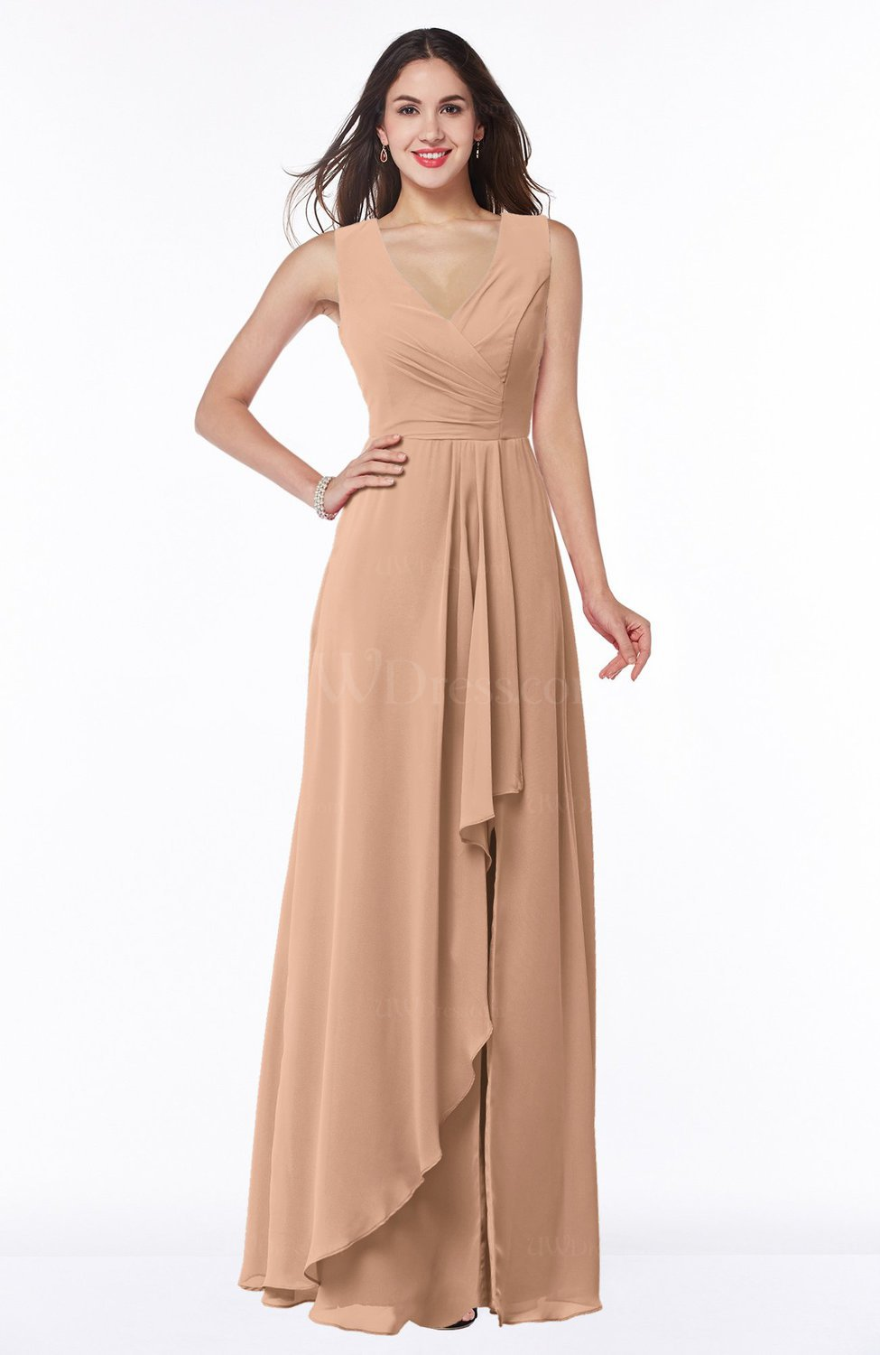 Burnt Orange Modest A-line V-neck Zip up Floor Length Ruching Plus Size  Bridesmaid Dresses