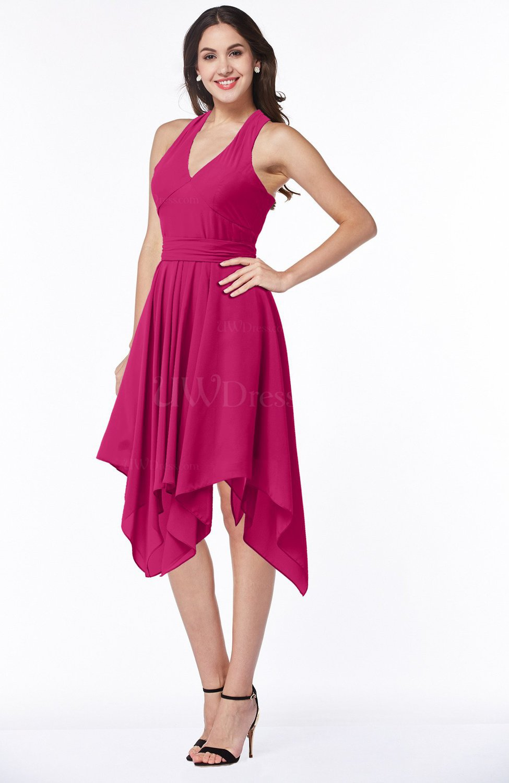 Beetroot Purple Plain V-neck Sleeveless Half Backless Ribbon Plus Size  Bridesmaid Dresses