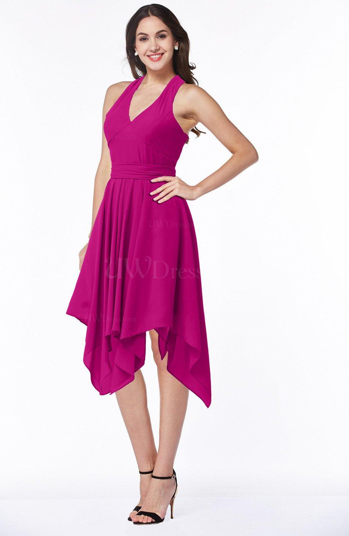 Hot Pink Plain V-neck Sleeveless Half Backless Ribbon Plus Size ...