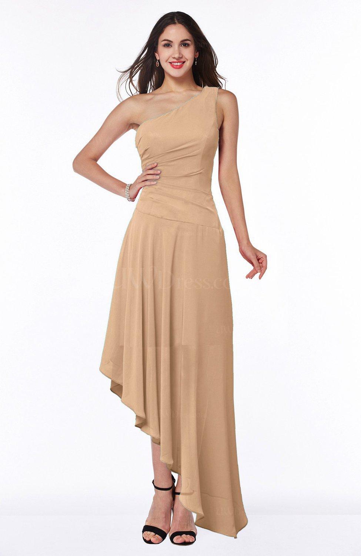 Burnt Orange Simple Asymmetric Neckline Sleeveless Half Backless Chiffon  Asymmetric Plus Size Bridesmaid Dresses