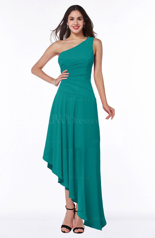 Emerald Green Simple Asymmetric Neckline Sleeveless Half Backless Chiffon  Asymmetric Plus Size Bridesmaid Dresses