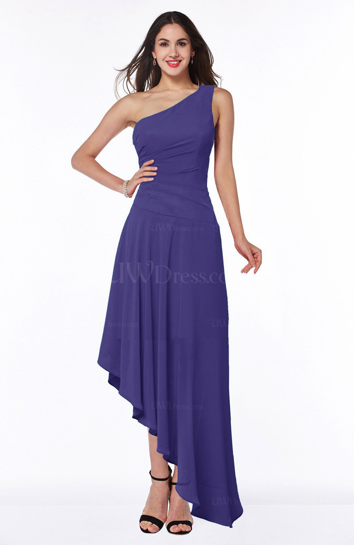 Royal Purple Simple Asymmetric Neckline Sleeveless Half Backless Chiffon  Asymmetric Plus Size Bridesmaid Dresses