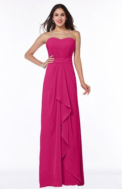 197185396092f Beetroot Purple Traditional Strapless Zip up Chiffon Floor Length Plus Size Bridesmaid  Dresses
