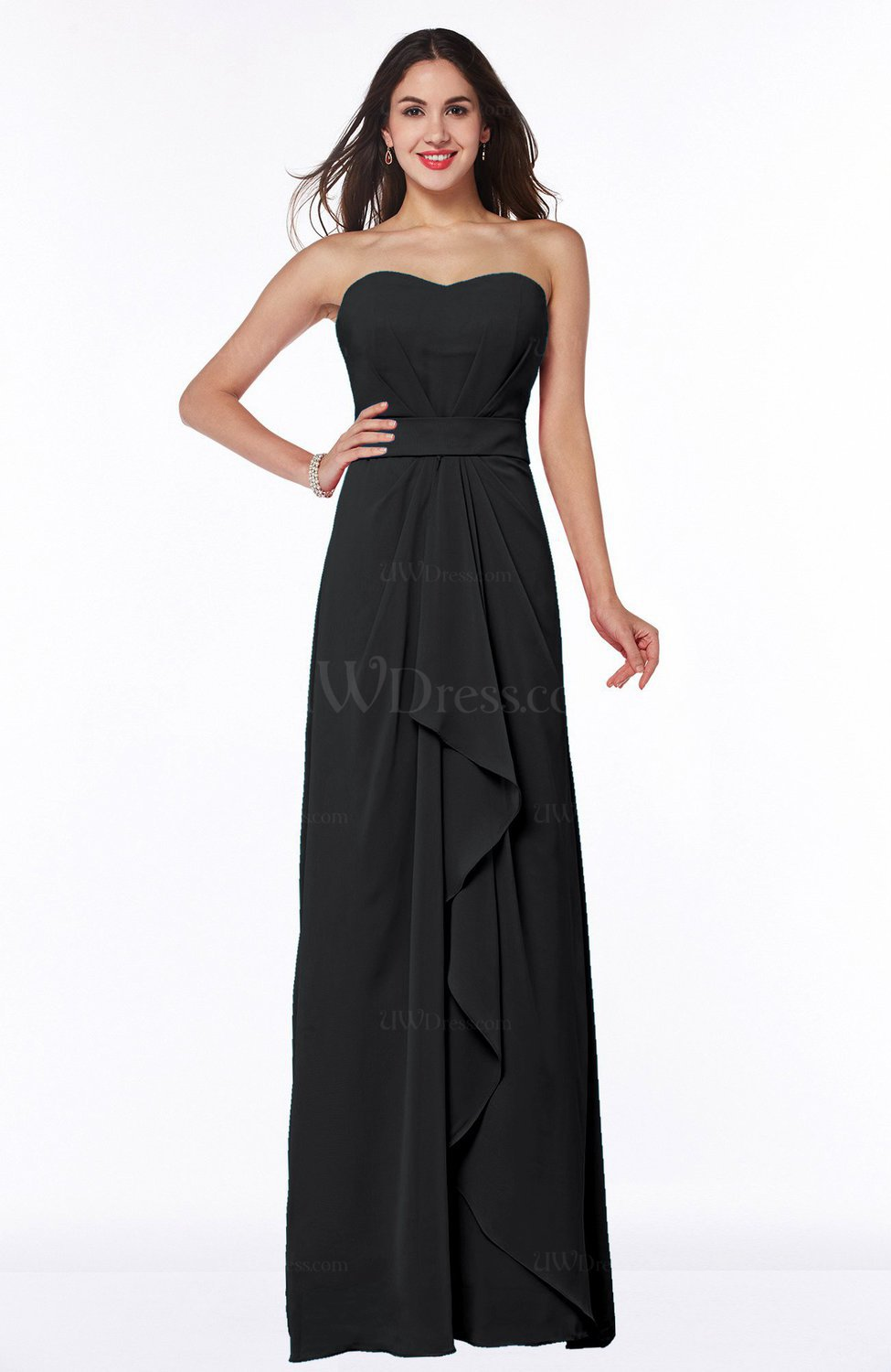 bf09b86c4af Black Traditional Strapless Zip up Chiffon Floor Length Plus Size  Bridesmaid Dresses (Style D08232)