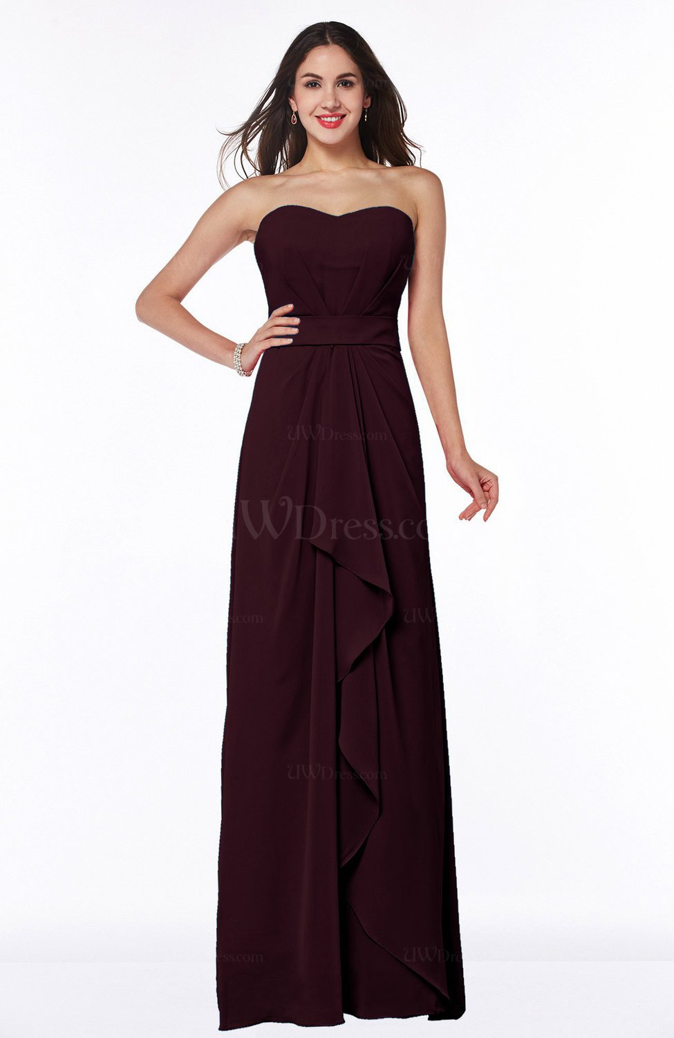 Burgundy Traditional Strapless Zip up Chiffon Floor Length Plus Size ...