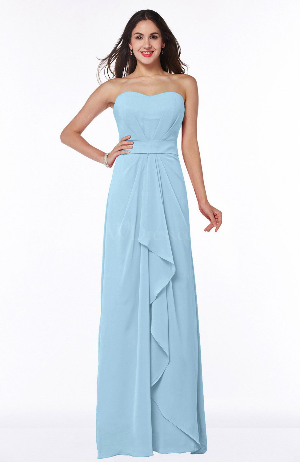 Ice Blue Traditional Strapless Zip up Chiffon Floor Length Plus Size  Bridesmaid Dresses