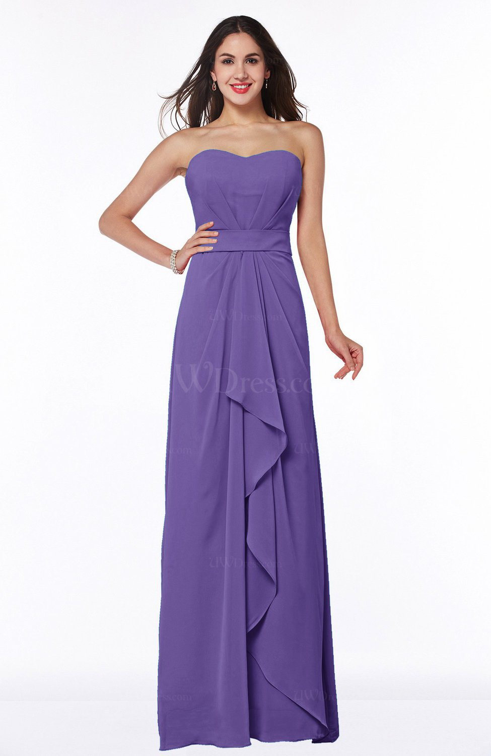 Lilac Traditional Strapless Zip up Chiffon Floor Length Plus Size  Bridesmaid Dresses