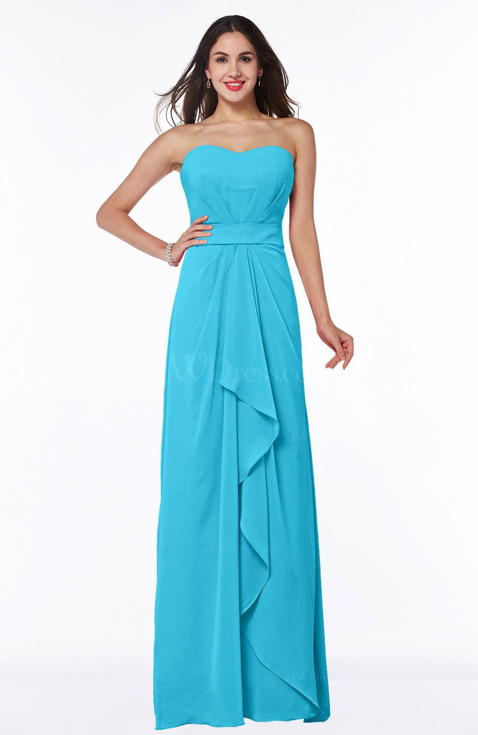 Turquoise Traditional Strapless Zip up Chiffon Floor Length Plus Size  Bridesmaid Dresses