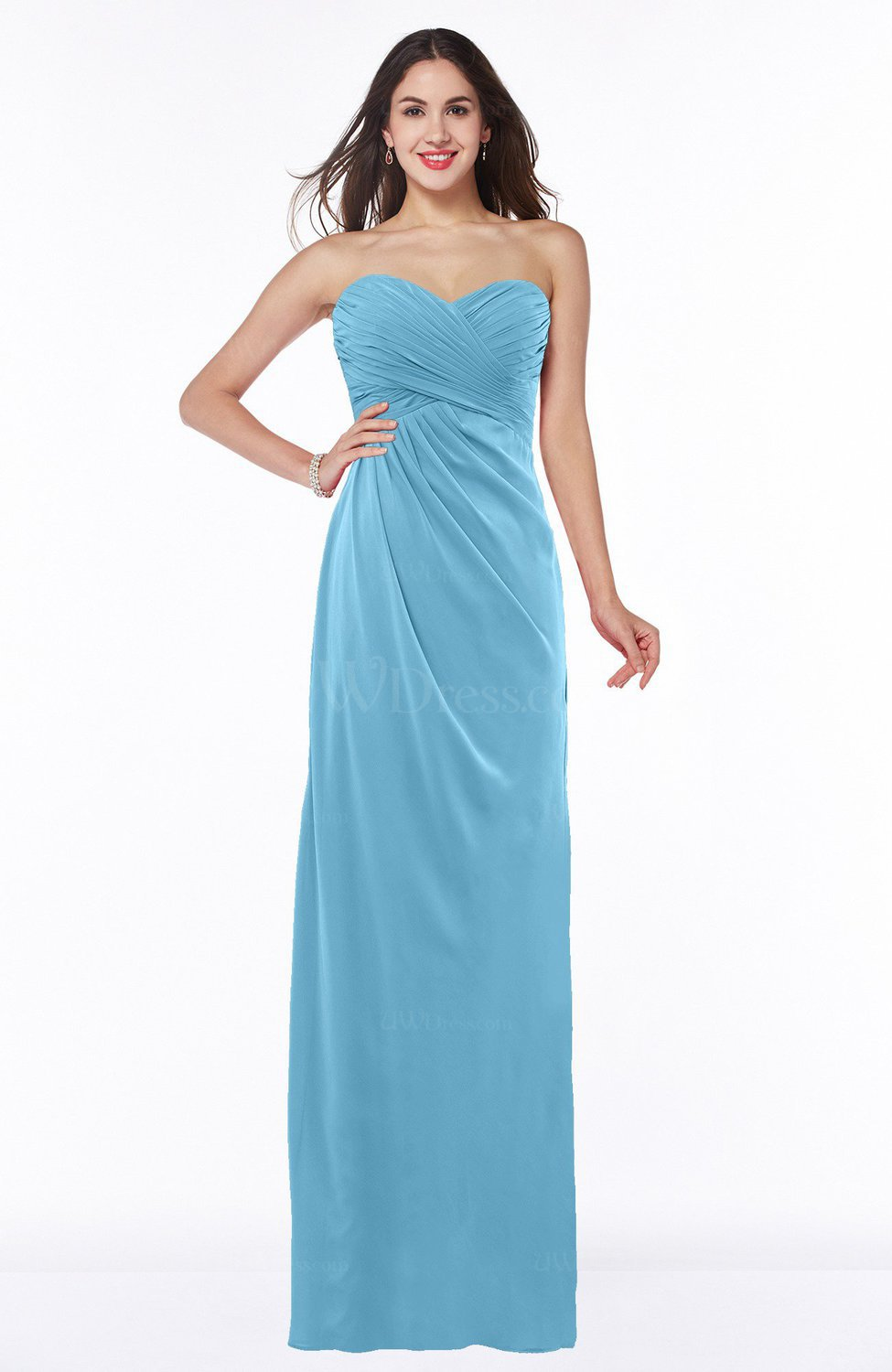 bbc7f3df84d0c Light Blue Sexy Sheath Strapless Half Backless Floor Length Pleated Plus  Size Bridesmaid Dresses (Style D94540)