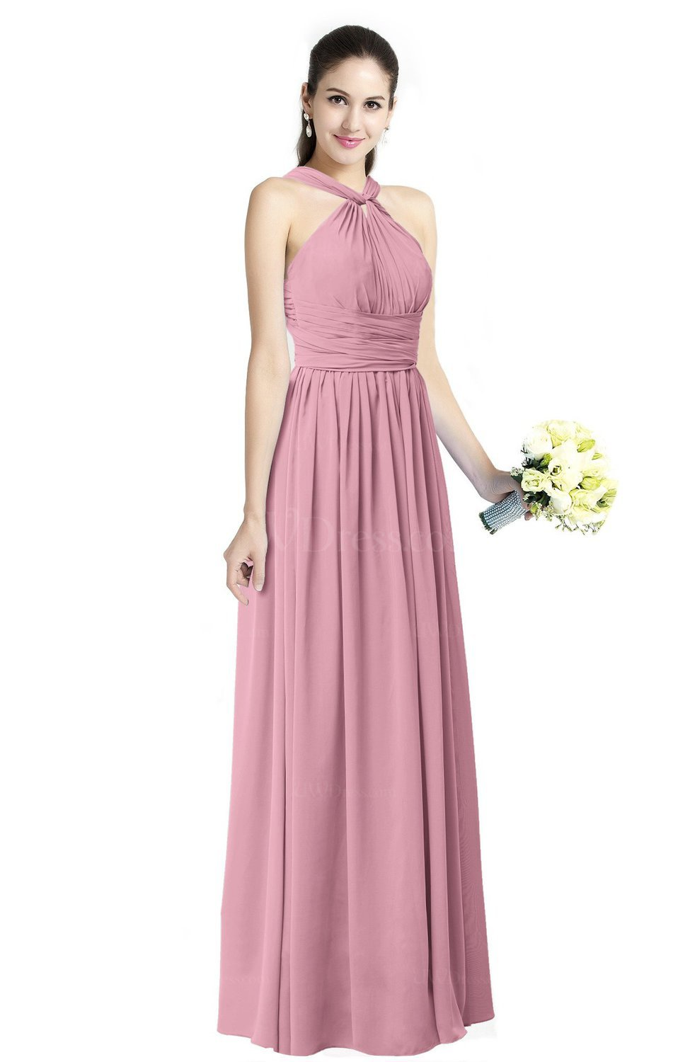 Light Coral Traditional A-line Halter Criss-cross Straps Chiffon Bow Plus  Size Bridesmaid Dresses