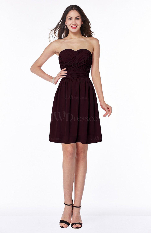 Burgundy Cute A-line Sleeveless Zipper Short Ribbon Plus Size Bridesmaid  Dresses (Style D93290) 1b82737eb