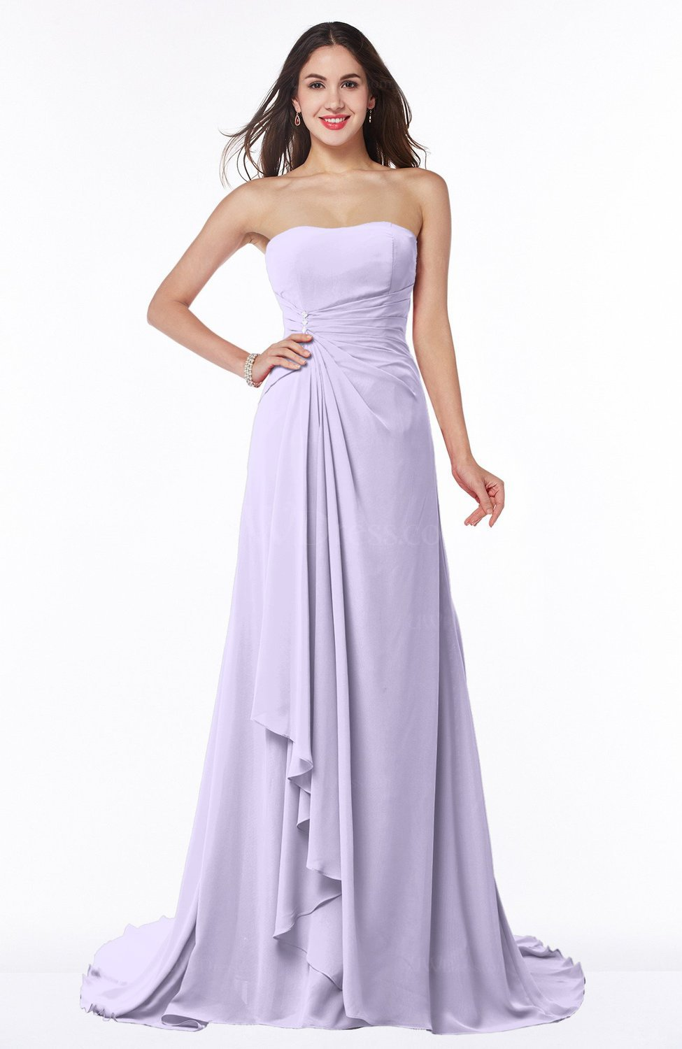 Pastel Lilac Vintage A-line Sleeveless Sweep Train Rhinestone Plus Size  Bridesmaid Dresses