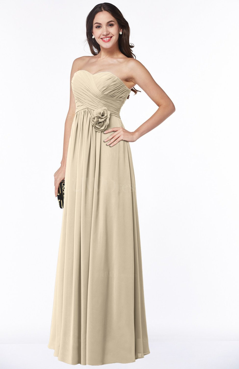 Champagne Cute Strapless Sleeveless Chiffon Floor Length Flower Plus Size  Bridesmaid Dresses