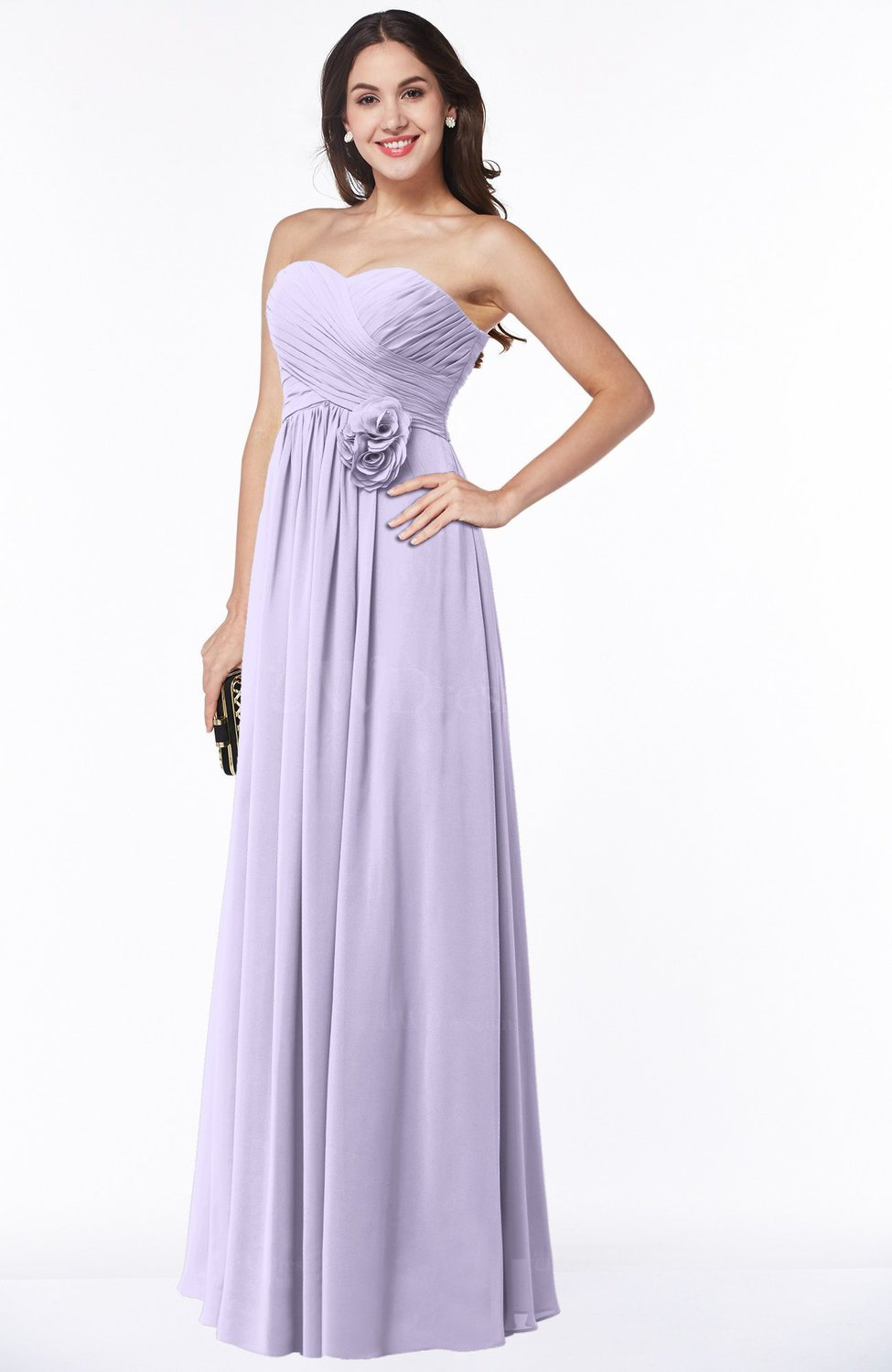 Pastel Lilac Cute Strapless Sleeveless Chiffon Floor Length Flower ...