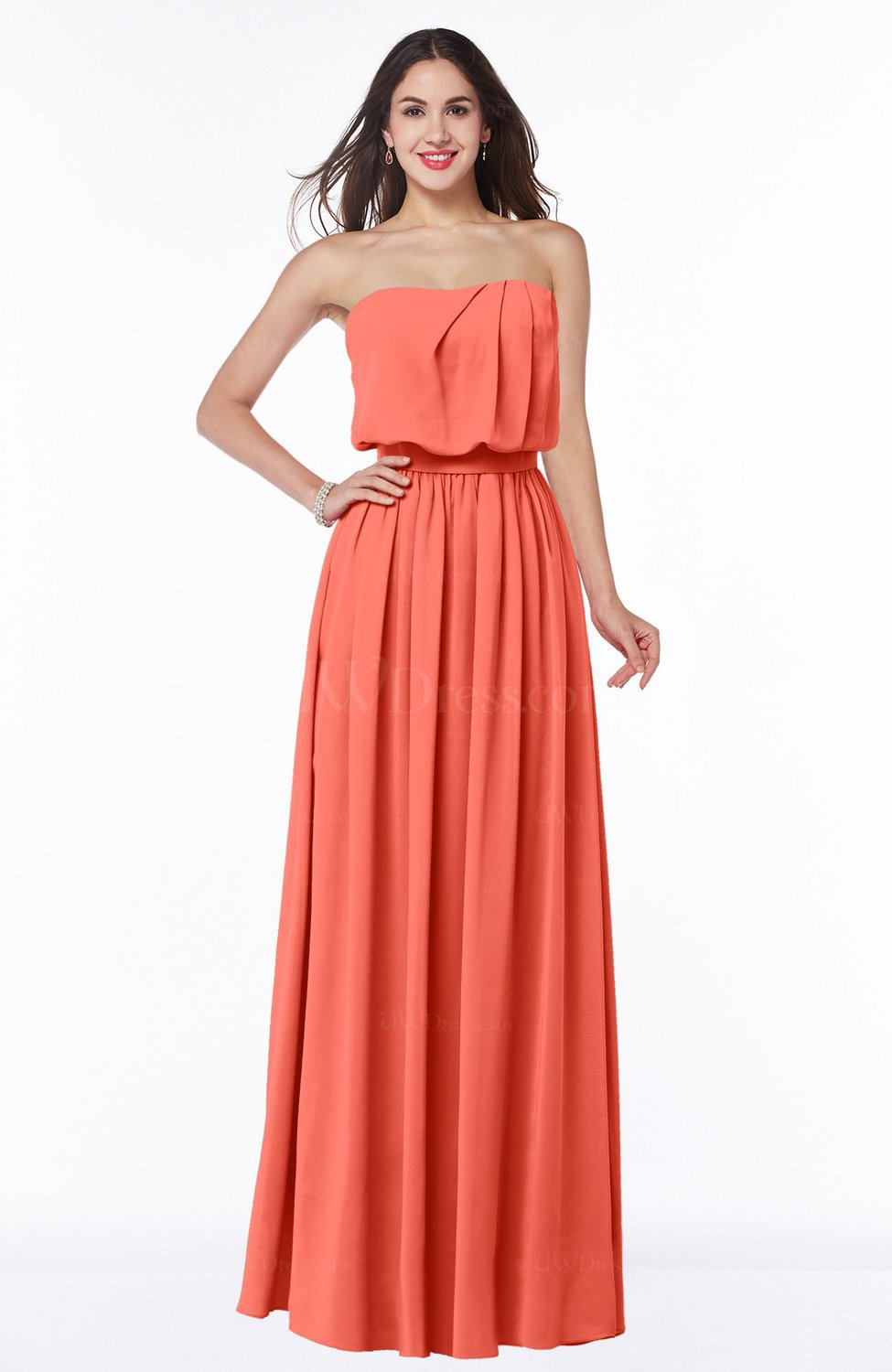 03c3a078b295 Living Coral Romantic A-line Strapless Half Backless Chiffon Ribbon Plus  Size Bridesmaid Dresses (Style D16436)