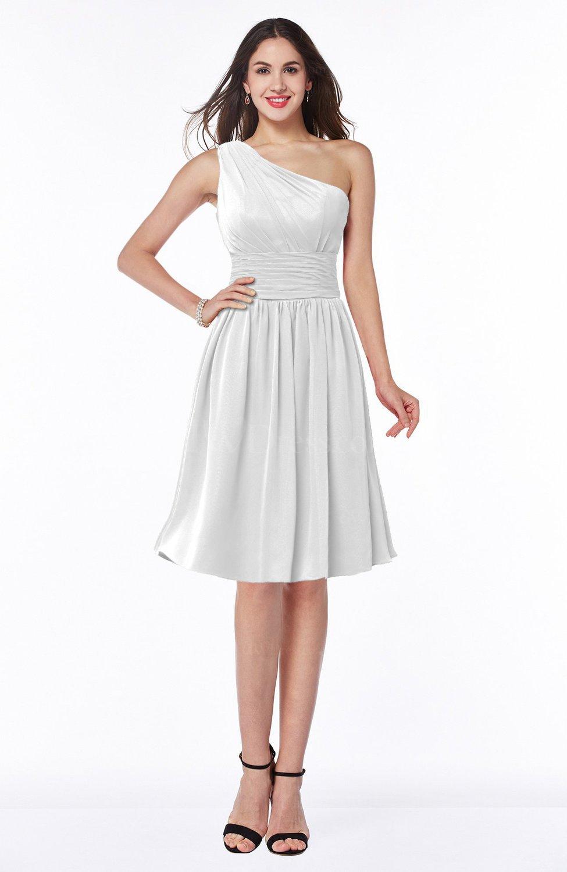 White Cute A-line Sleeveless Chiffon Knee Length Plus Size Bridesmaid  Dresses