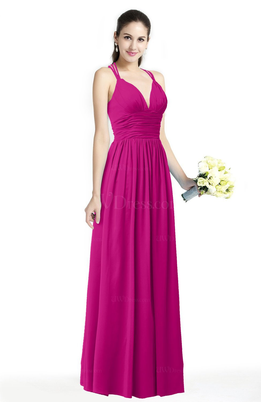 Hot Pink Simple Spaghetti Sleeveless Chiffon Sash Plus Size Bridesmaid  Dresses
