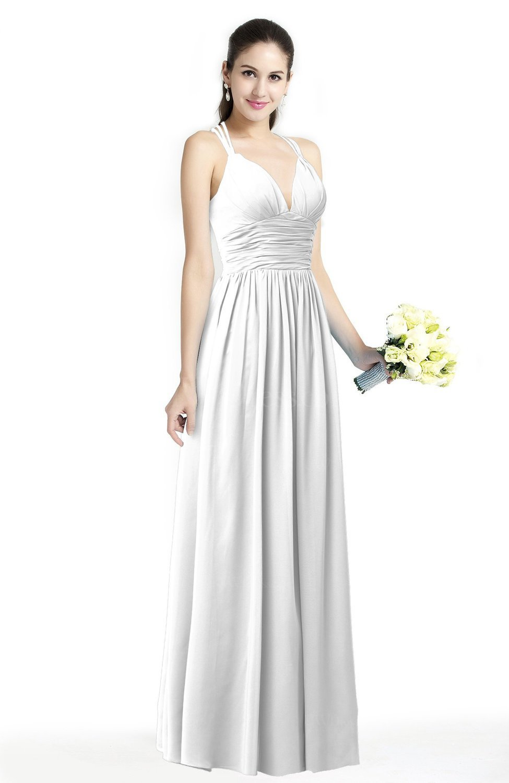 White Simple Spaghetti Sleeveless Chiffon Sash Plus Size Bridesmaid Dresses