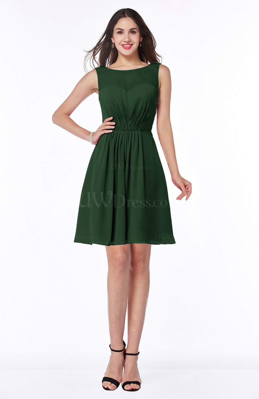 uk availability big sale outlet Hunter Green Plain Scoop Sleeveless Zipper Mini Bridesmaid Dresses