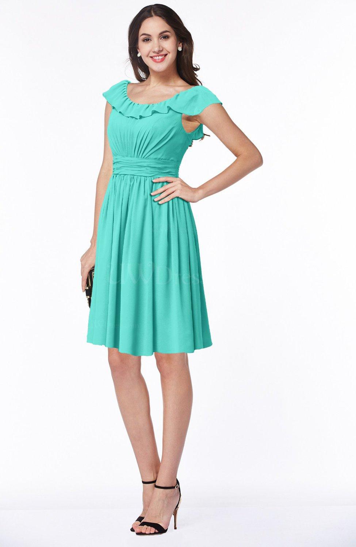 Blue Turquoise Cute Scoop Short Sleeve Zip up Sash Plus Size ...