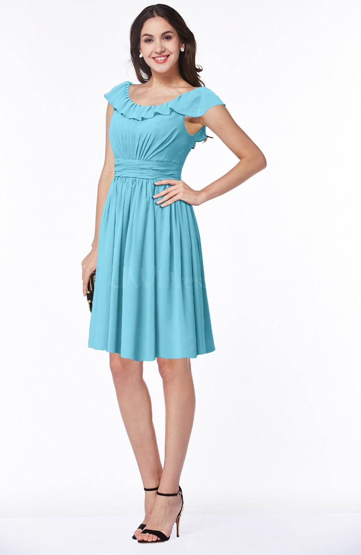Light Blue Cute Scoop Short Sleeve Zip up Sash Plus Size Bridesmaid Dresses