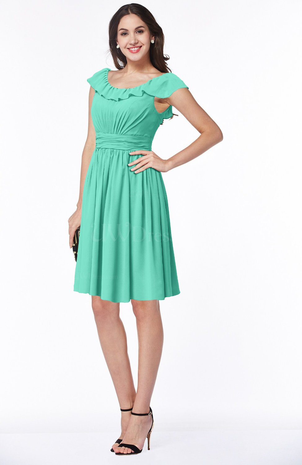 8960a39970d Seafoam Green Cute Scoop Short Sleeve Zip up Sash Plus Size Bridesmaid  Dresses (Style D08708)