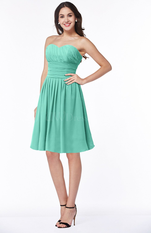 8583fba9d34 Mint Green Elegant Strapless Sleeveless Zipper Knee Length Ribbon Bridesmaid  Dresses (Style D70838)