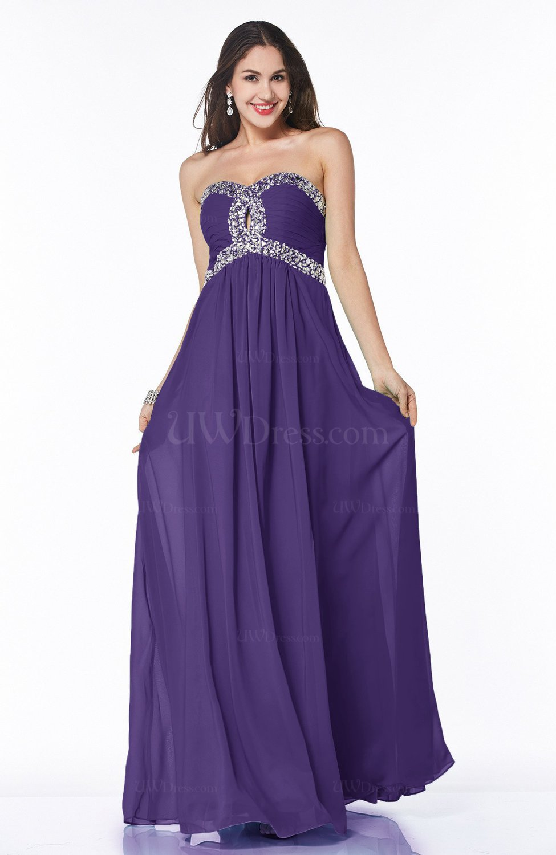 Dark Purple Modern Sleeveless Zipper Chiffon Floor Length Plus Size Prom  Dresses
