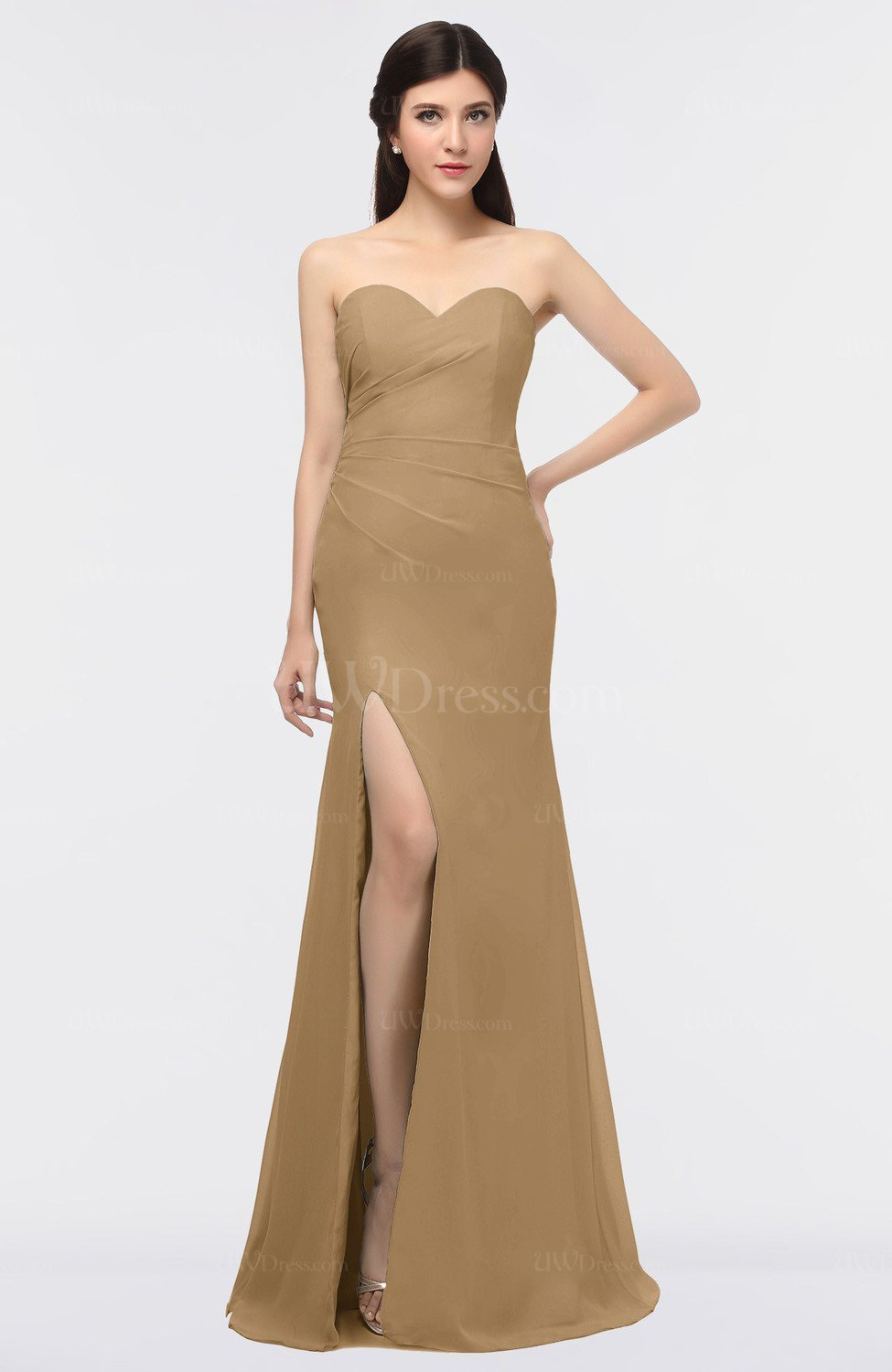 dad2e61be16d Indian Tan Mature Strapless Sleeveless Zip up Floor Length Prom Dresses  (Style D26302)