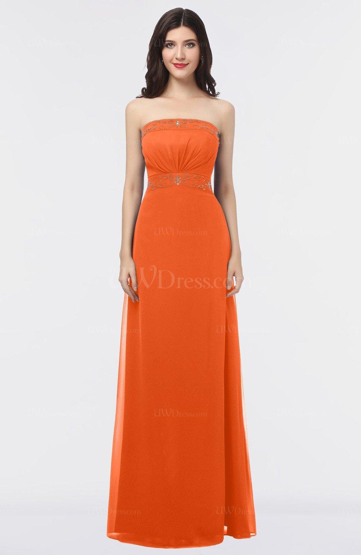 b15d56cc1bf Tangerine Mature Sleeveless Criss-cross Straps Floor Length Appliques  Bridesmaid Dresses (Style D26136)