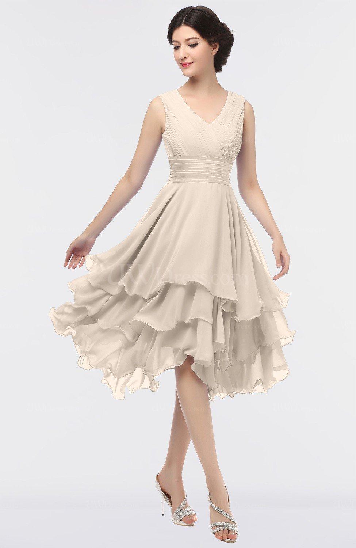 Pastel Rose Tan Elegant V Neck Zip Up Knee Length Ruching