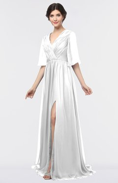 Plus Size Bridesmaid Dresses White Half Length Sleeve - UWDress.com