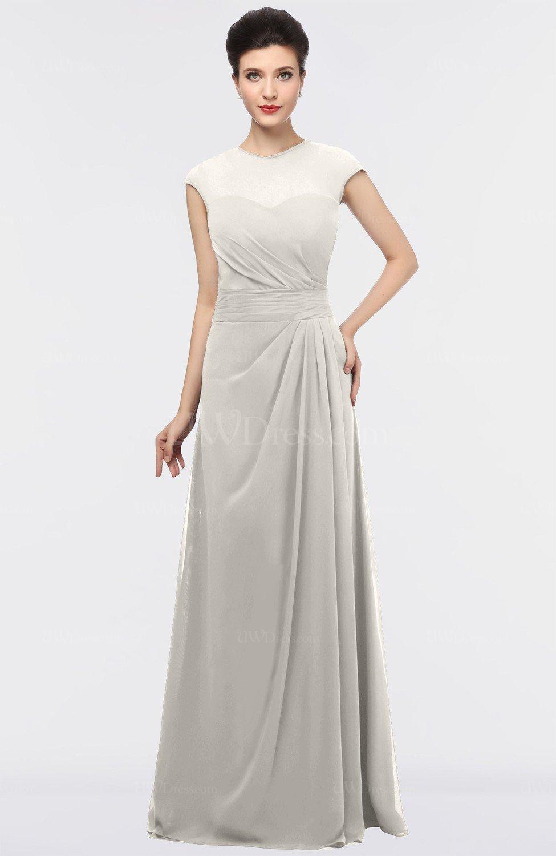 Off White Elegant Jewel Short Sleeve Zip up Floor Length ...