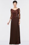 Elegant A-line V-neck Zip up Floor Length Embroidery Mother of the Bride Dresses