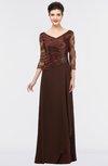 Elegant A-line V-neck Zip up Floor Length Embroidery Mother of the Bride Dresses