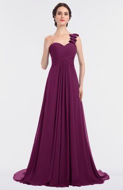 9e852dc0f2d Raspberry Glamorous A-line Asymmetric Neckline Sleeveless Sweep Train Ruching  Evening Dresses