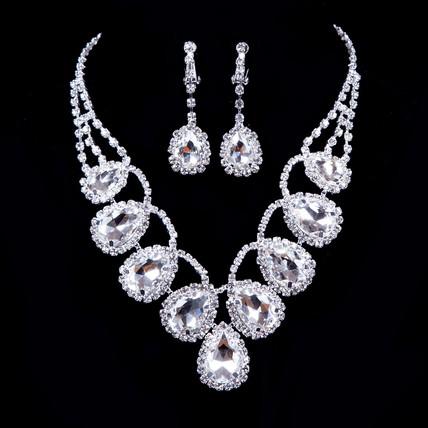 High Quality Clip Earrings Rhinestones Jewelry Sets Birthday